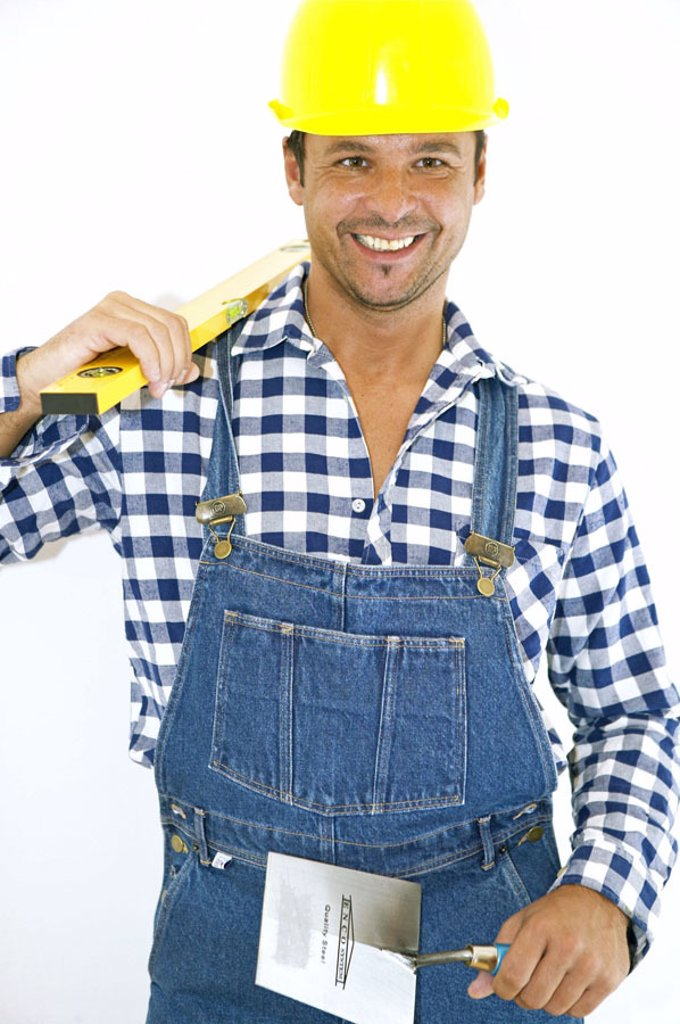 Do-it-yourself, man, overalls,  Bauhelm, ladle, level,   truncated Series, do-it-yourselfers, 30-40 years, masons, construction workers, workers, working clothes, tool, measuring instrument, Trowel, home works, renovation performances, renovates, renovati : Stock Photo