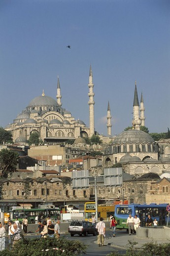 Stock Photo: 1558-62786 Turkey, Istanbul, view at the city,  Süleyman-Moschee  Middle east, fore Orient, Near east, Ottoman empire, city, district, cityscape, houses, buildings, sight, Süleymaniye Camii, minarets, landmarks, build 1550-1557, architecture, chapel, sacral construc
