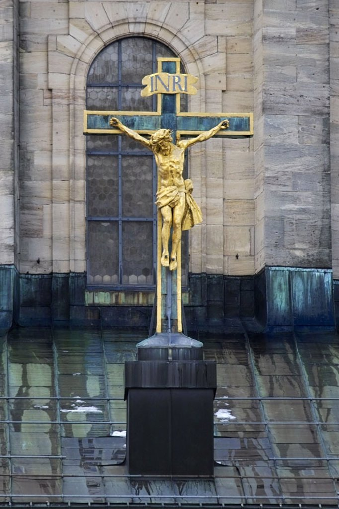 Stock Photo: 1558-63229 Germany, Black forest, St. Blasien, Church, detail, crucifix  Europe, Baden-Württemberg, South Black forest, cloister, cloister church, dome church, cross, Jesus, savior,  Crucified, crucified, inscription ´INRI´, symbol, concept, belief, religion, Christ
