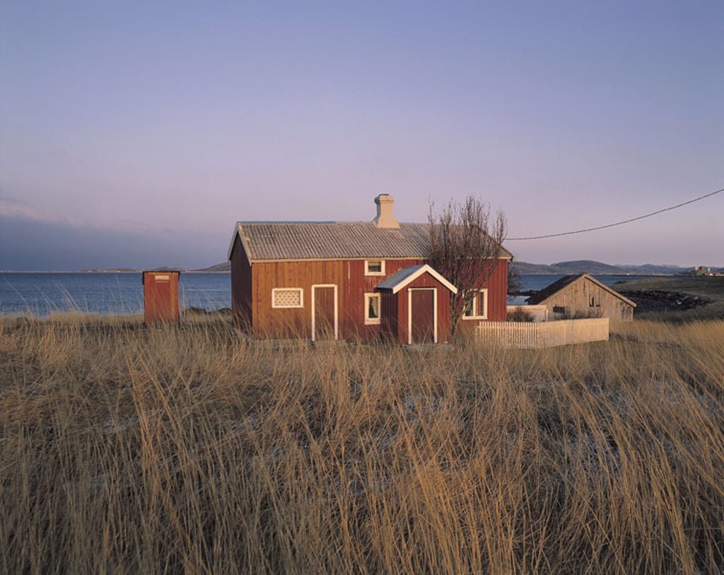 Stock Photo: 1558-64675 Dune, grasses, framehouse, coast,   Norway, Nordlandshus, house, red, power line, residence, Holzbauweise, one-family house, rural, isolated loneliness nature, coast section, idylls meadow fjord, sea,
