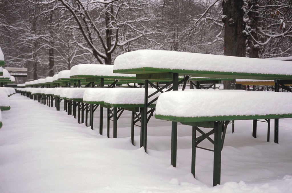 Beer garden, snow-covered,   Trees, bald, beer benches, beer tables, beer table sets, season, winters, snow, off-season, non-season, empty, abandoned, nobody, human-empty, concept, turnover loss, winter break-in, unexpectedly, unexpected : Stock Photo