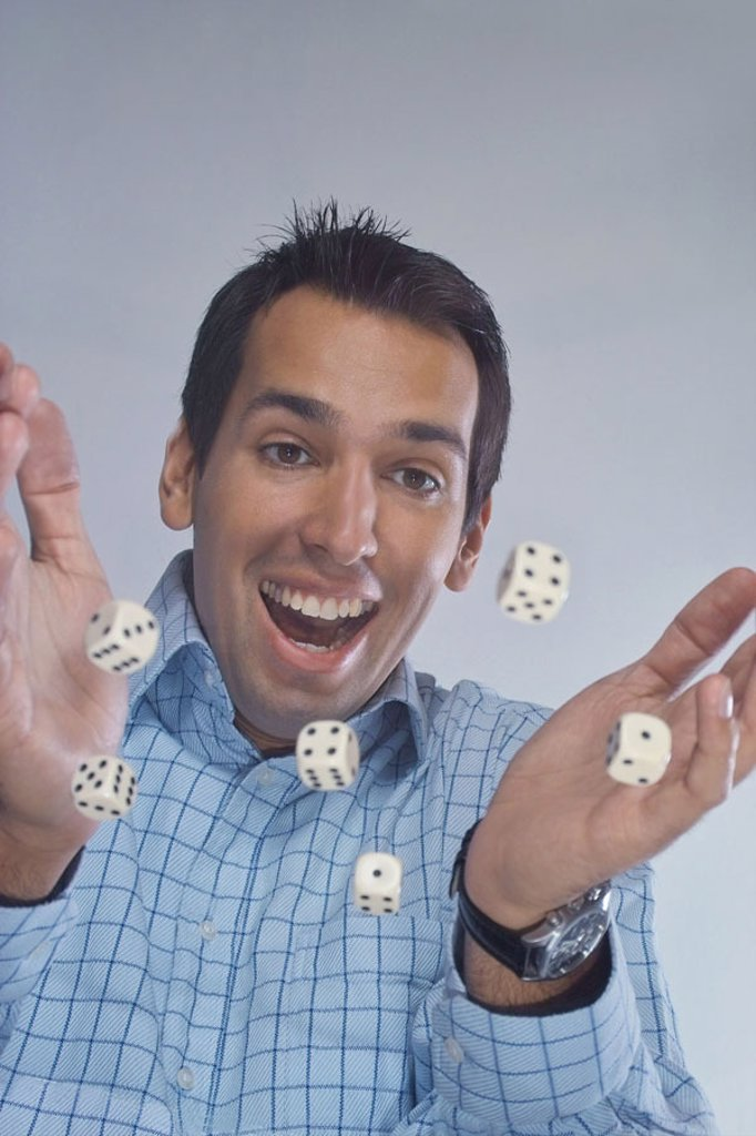 Glass table, man, Würfelspiel, laughing, portrait, from below  20-30 years, 30-40 years, joy, luck, contentment, Game dice, dice, roll, playing, die game, game, concept, gamble, lucky dice, coincidence, success, lucky numbers, profit, mood positively, int : Stock Photo