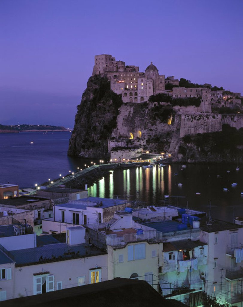 Italy, Kampanien, island Ischia, Ischia,  Ponte, Castello Aragonese, sea, boats,  Evening Europe, Southern Europe, South Italy, sight, place, connection, connection dam, rocks, rock coast, castle, fortress, fortification, castle, architecture, fisher boat : Stock Photo