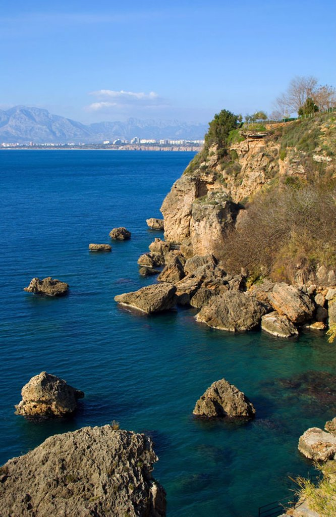 Turkey, Antalya, Lara Beach,  Coast landscape  South Turkey, Turkish Riviera sea resort Larabeach coast landscape, rock coast, rocks, rocks, sea, Mediterranean, : Stock Photo
