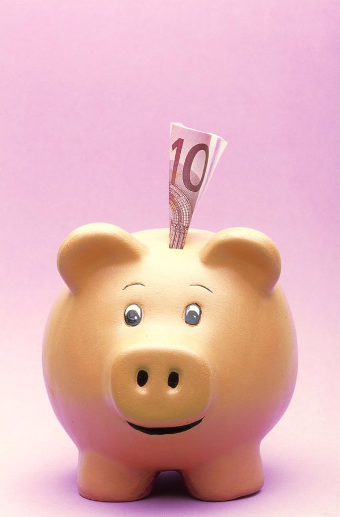 Stock Photo: 1558-66602 Piggy bank, bill,   Money, saving, finances, nest eggs, savings can, savings, thrift, future, provision, reserve, household cash register, money, appearance, objection, quietly life, fact reception