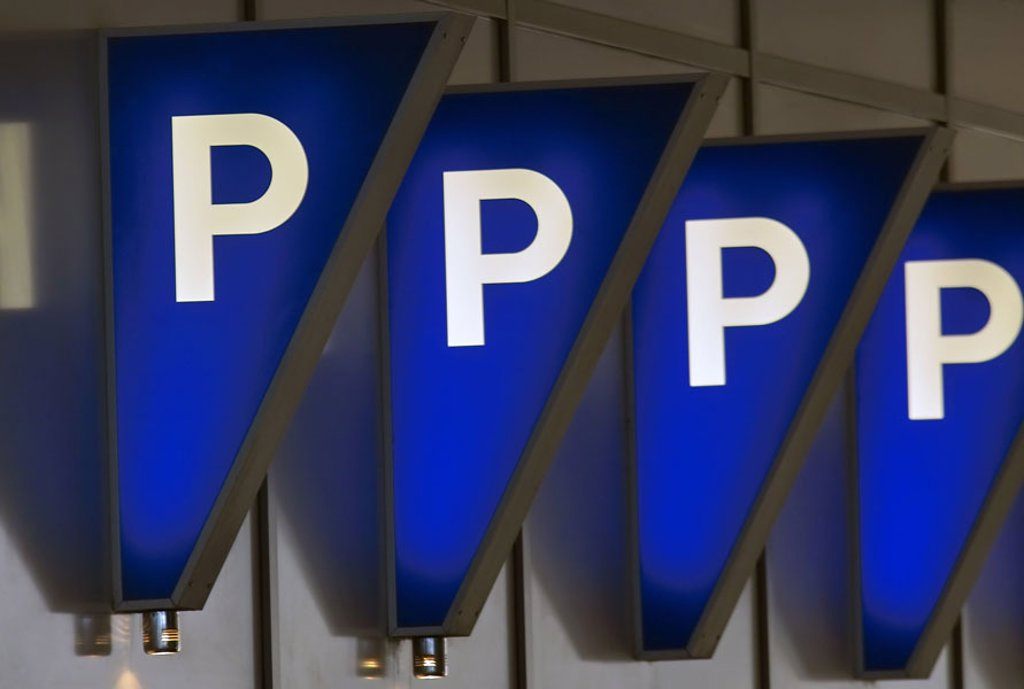 Stock Photo: 1558-67449 Parking places, signs, blue,  illuminate  Signs, hint, information, parking place, parking facility, Abstellplätze, pictograms, symbol, fact reception, parking structure, Stellplatz, Stellplätze, parking place marking, triangle, signs, wall, parking, tran