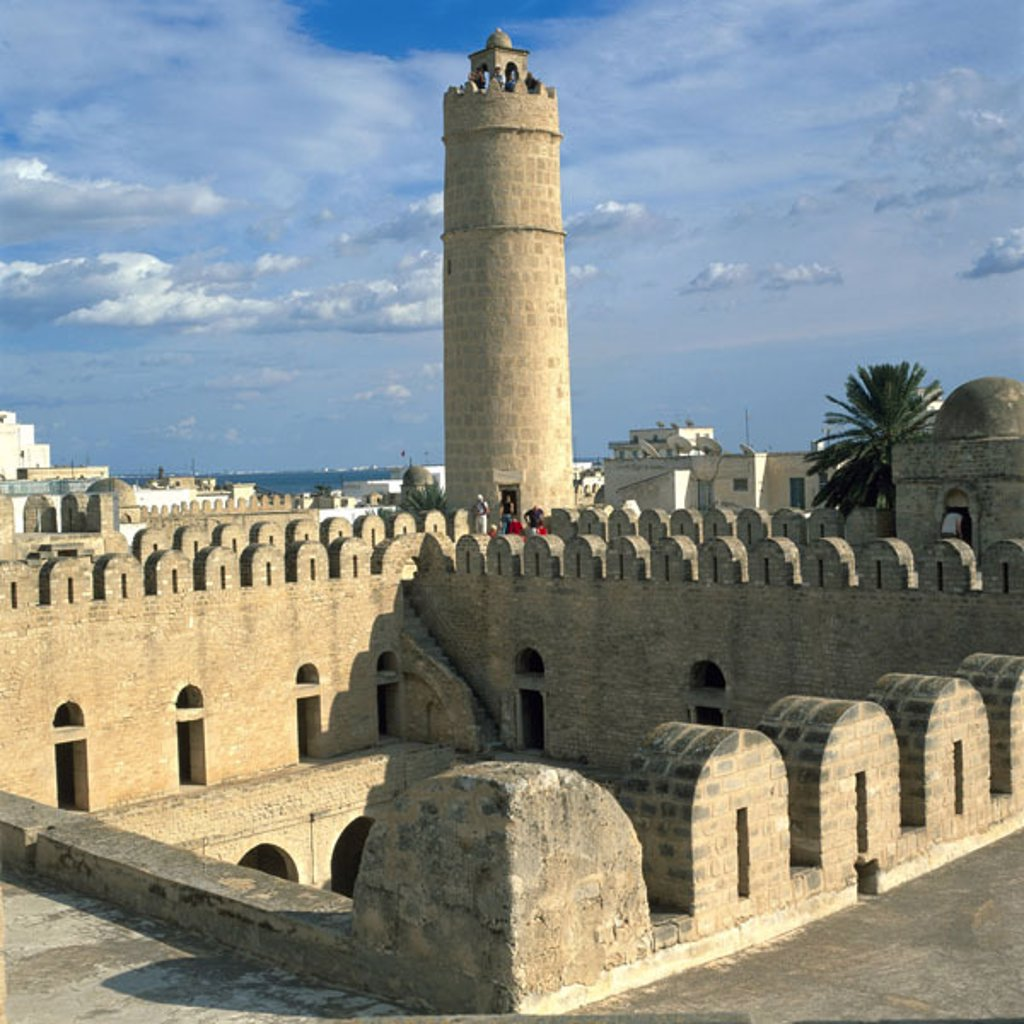 Tunisia, Sousse, Ribat,  Outlook storm, tourists,  Africa, central Tunisia, defense construction, fortress, 822, defense castle, tower, construction, architecture, culture, Sight, destination, tourism : Stock Photo
