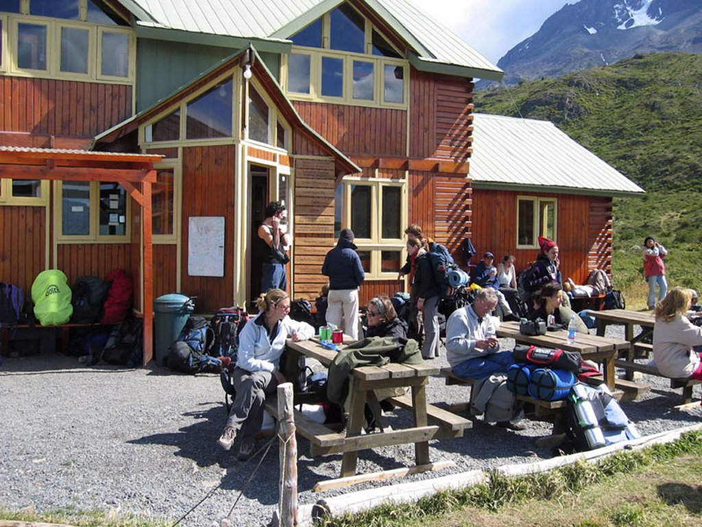 Chile, Pat agonies, Punta arenas,  National park Torres Del Paine, mountain hut,  Traveling group, rest, no models release! America, South America, Latin America, national park traveling area Trekking rest house, framehouse, hikers, pause, recuperation, v : Stock Photo