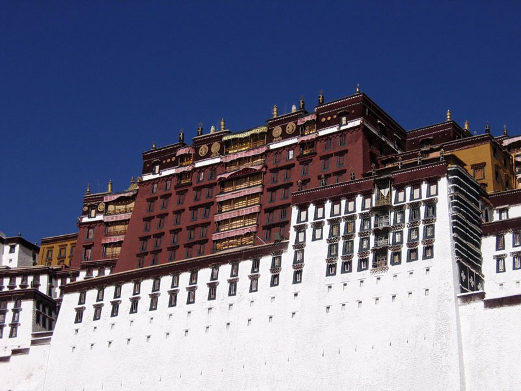 China, Tibet, Lhasa, Potala-Palast,   Asia, sight, UNESCO-World Heritage Site, Potala palace, palace installation, red palace, Potrang Marpo, thirteen-story, fortress-nicely, buildings, construction, architecture, built 1648-1694 : Stock Photo