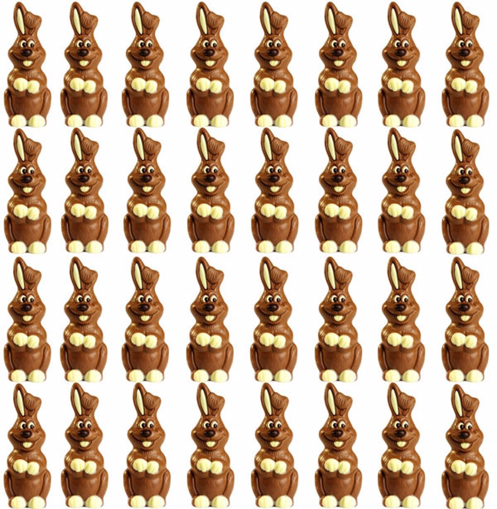 Quietly life, Easter, Easter bunnies,  Matrix order, postcard motive,  Chocolate hares, chocolate Easter bunnies, hares, chocolate, many, rows, immediately, identically, ears, Easter motive, bent free plate : Stock Photo