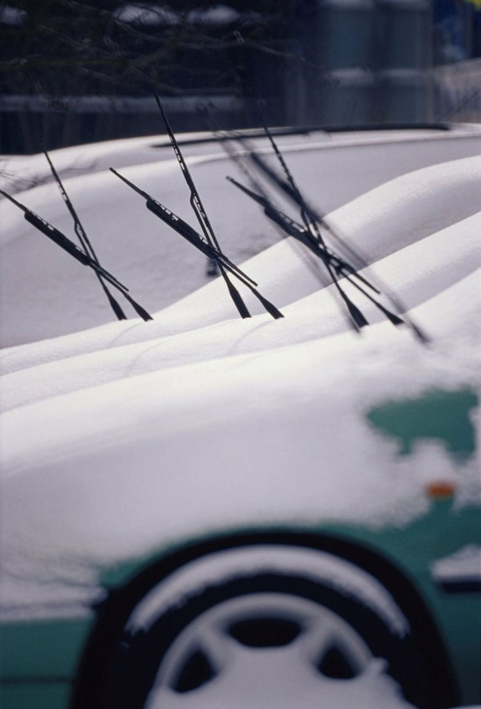 Stock Photo: 1558-69278 Cars, Neuwagen, side by side,  parks, snow-covered, evening  Pkw´s, vehicles, windshield wipers, opened, high-worked out, sale, auto dealers, Händlerstellfläche, season, winters, wintry, snow, snowfall, unfavorably, zugeschneit