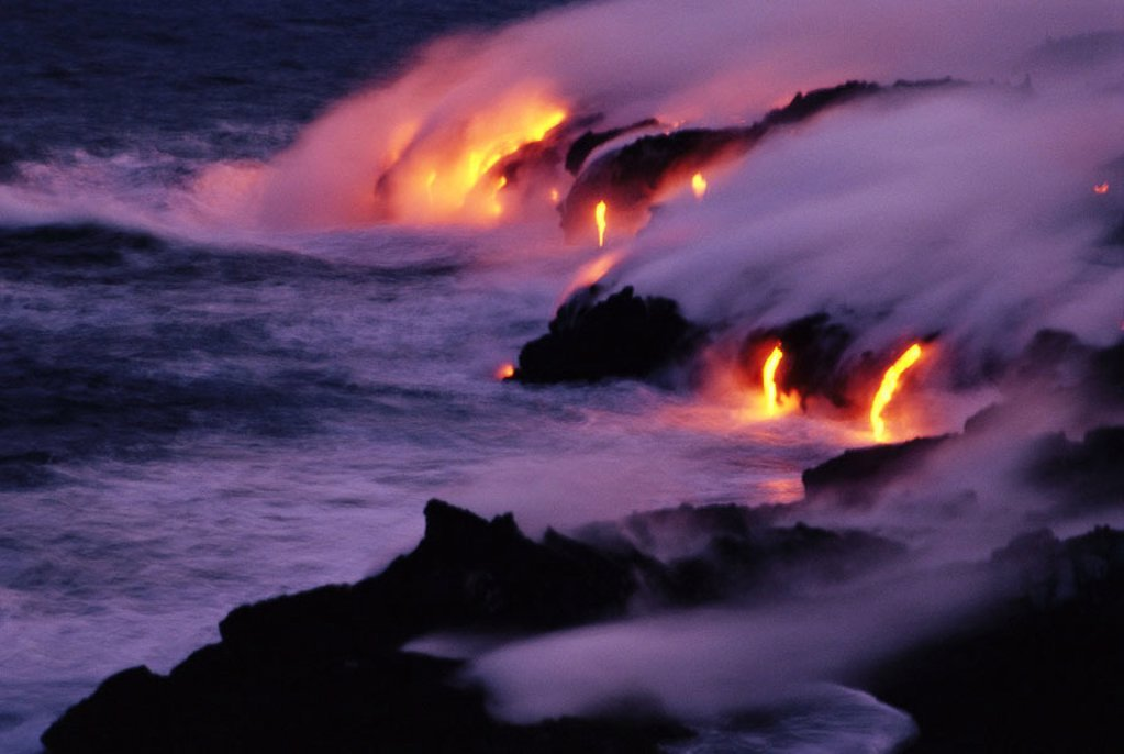 Stock Photo: 1558-69321 USA, Hawaii, Kileau, Volcanoes,  Nationally park, sea, lava, glows,  Evening Polynesia, Hawaii islands, Big Iceland, national park, destination, destination, sight, nature, nature drama, magma, fluently, hotly, glows, smoke, steams, cools, solidifies, con