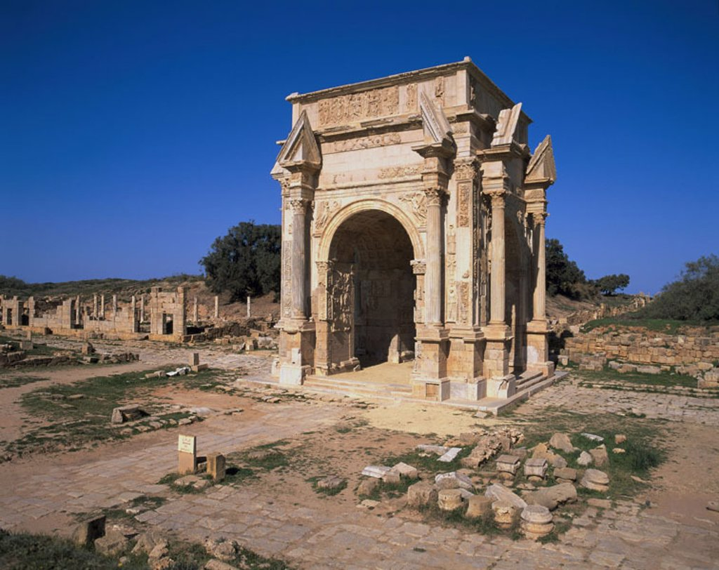Stock Photo: 1558-70749 Libya, Leptis Magna, Septimius-Bogen   Africa, North Africa, excavation place, Ruinenstätte,  Septimus-Severus-Bogen, construction, historically, antique, Archway construction, triumphal bow, UNESCO-World Heritage Site, culture, history, archaeology, sigh