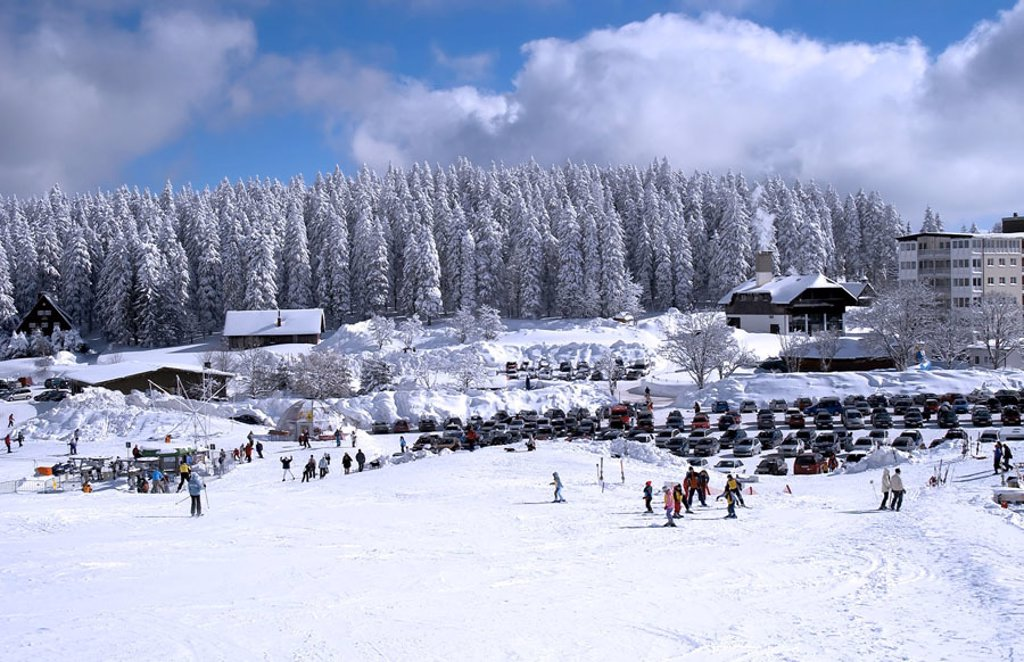 Germany, Baden-Württemberg,  Field mountain, parking place, cars, track,  Skiers Europe, Breisgau-Hochschwarzwald, Black forest, snow, snow-covered, houses, hotels, housings, season, winters, cold, winter sport area, Skigebiet, Skipiste, winter athletes, : Stock Photo