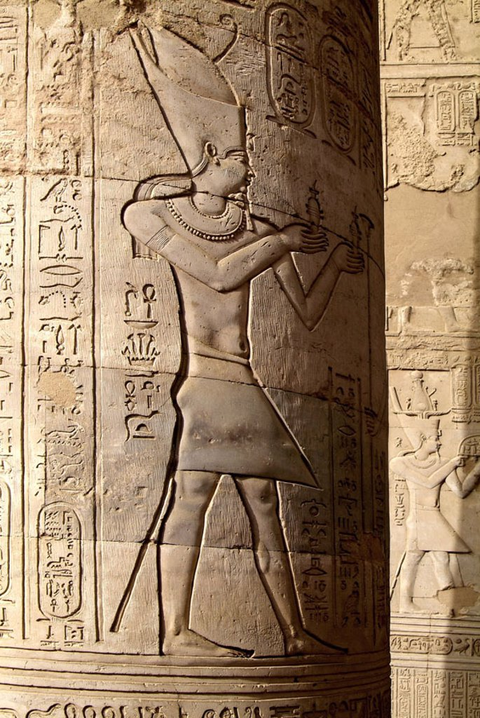 Stock Photo: 1558-73196 Egypt, Kom Ombo, temples, column,  Detail, relief,  Africa, head Egypt, destination, destination, sight, double temples, sanctuary, ruin, culture, relief column, hieroglyphics, God, representation, Pharaoh, saint