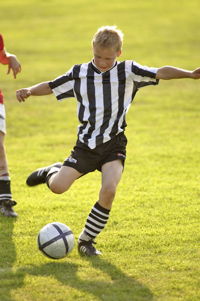 Stock Photo: 1558-73932 boy, soccer game    Child, childhood, youth, 8-12 years, leisure time, hobby, game, soccer players, game field, sport, sport, athletically, football ball running, soccer field, meadow, ball game movement use stormers shot, proficiency, ambition, skill, pl