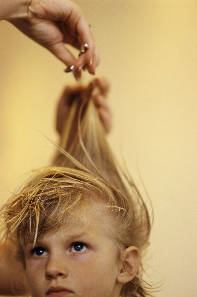 Stock Photo: 1558-74883 Hairdresser, girls, blond, haircut   Hairdresser parlor, hairdresser date, child, portrait, 6-10 years, seriously, expression long-haired hairdo, cuts off, hair, child haircut, cuts tops, ends prevention spliced hair care woman, detail, hands, scissors, i