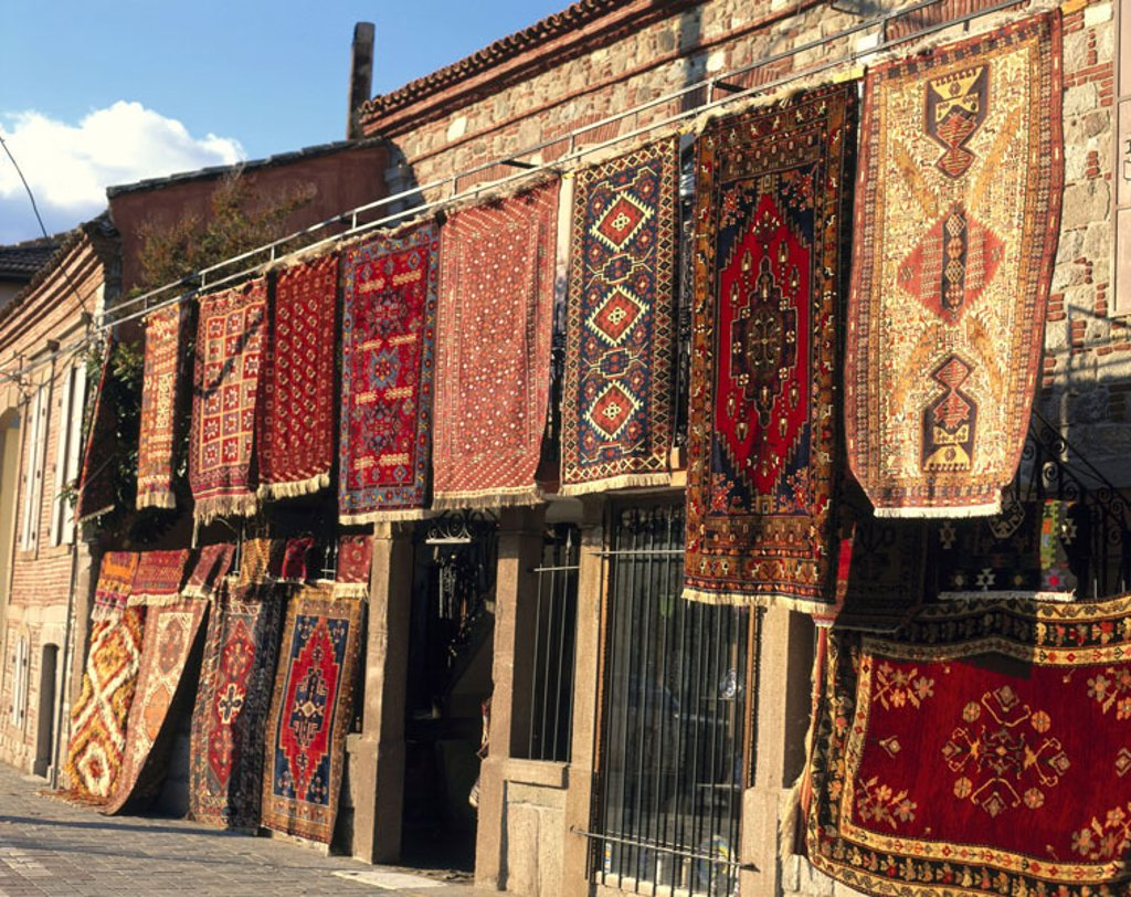Turkey, Bergama, Teppichgeschäft   Northern Aegean, Pergamon, house facade, carpets, Carpet sale, sale, Orient carpets, handicraft,  Handicraft, offer, selection, economy, retails : Stock Photo