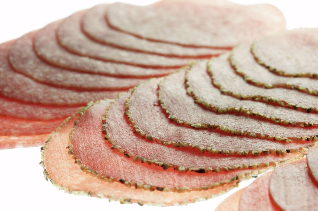 Sausage cold cuts, salami, kinds, different, detail  Cold cuts, sausage, permanent sausage, hard sausage, salami kinds, bragged, sausage disks, salami disks,  Disks, three different, prepared, roughly, finely, taste, concept, bread time, eat, hunger, Appe : Stock Photo