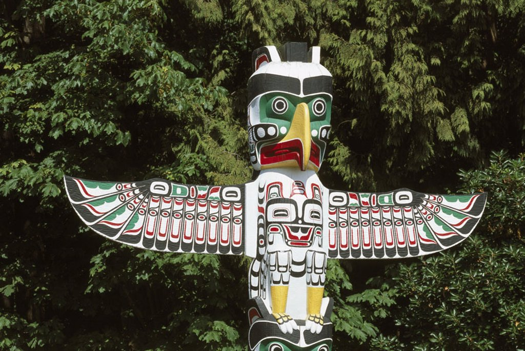 Stock Photo: 1558-76973 Totem post, detail,   North America, Canada, British Columbia, Vancouver, Stanley Park, sight, totem, art, Indian, coat of arms post, carving, Totemismus, culture, Native American culture