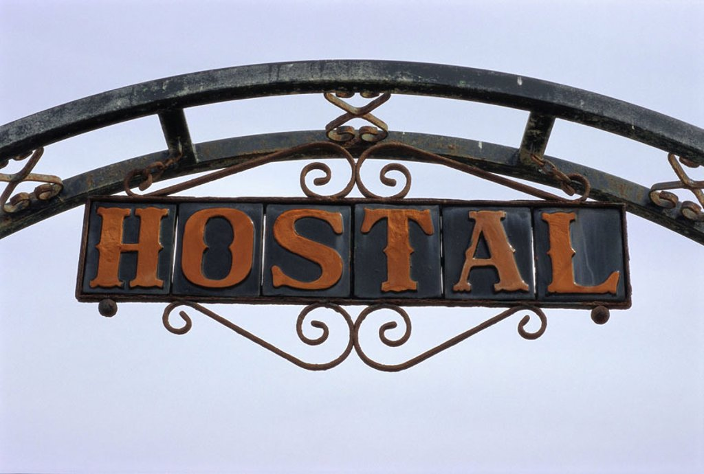 Stock Photo: 1558-77614 Inn, detail, sign ´Hostal´   Sign, inn sign, hint, housing, accommodation, hotel, overnight stay possibility, trip, destination, travel through, tourism