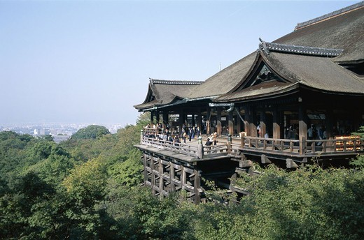 Japan, island Honshu, Kyoto, forest,  Rise, Kiyomizu temples,  Outlook balcony, tourists, Asia, Kiyomizu-dera, Kiyomizu-Tempel, wood buildings, Buildings, construction, main hall Hondo, wood porch, construction, buildings, architecture, sight,  Culture, t : Stock Photo