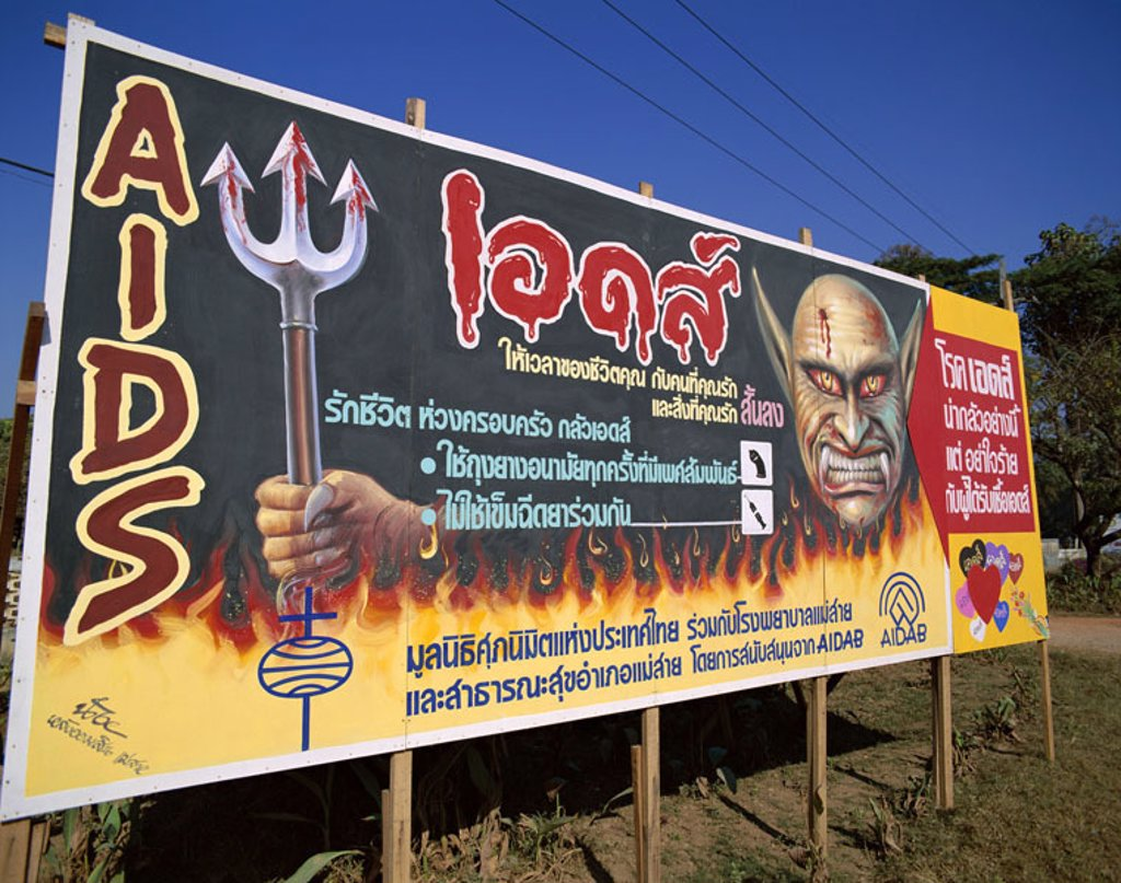 Stock Photo: 1558-78689 Thailand, noticeboard,  ´Aids information´  Asia, southeast Asia, poster, billboard, hint, attention, information, Aids, Prävention, memory, anti Aids campaign, provision, danger, health danger,