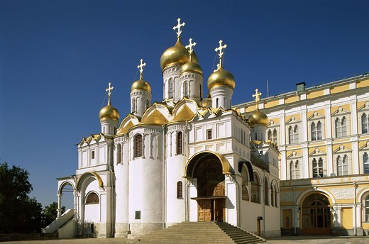 Russia, Moscow, Kremlin,  Maria proclamation cathedral  Capital, Blagoweschtschenskij Sobor, cathedral, church, built onion domes, golden, sight, culture, 1484-89, architecture, concept, belief, Religion : Stock Photo