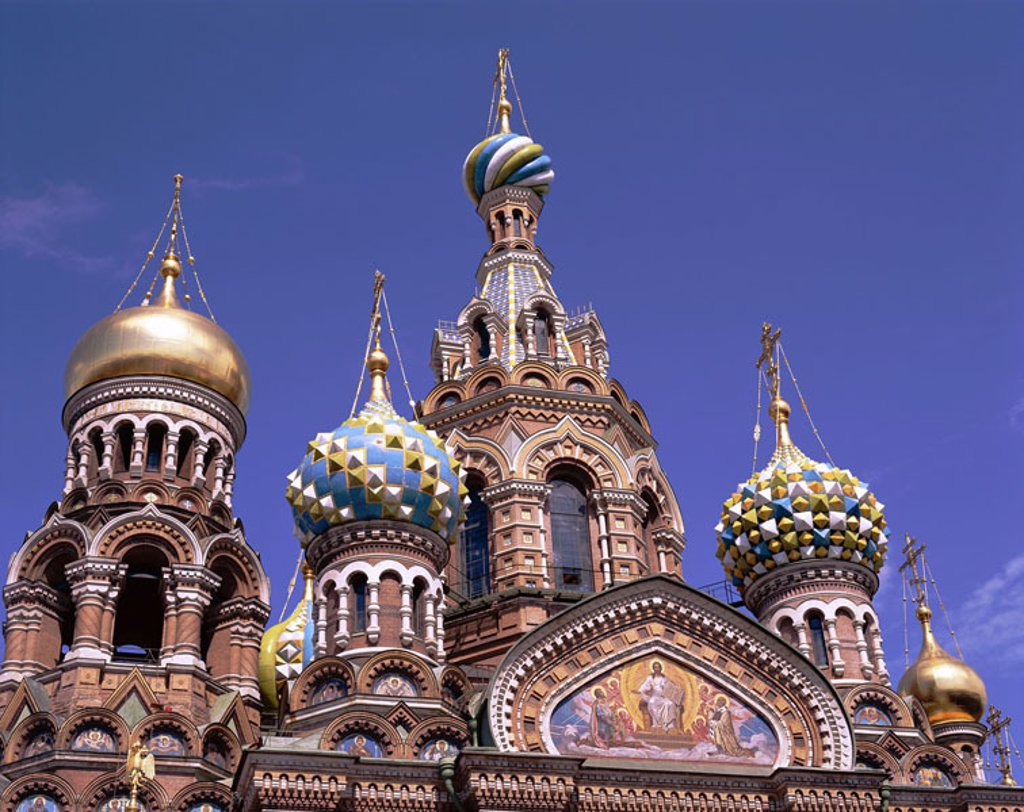 Russia, St. Petersburg, Christi Resurrection church, facade, detail  Sink Petersburg, Saint Peter castle, redeemer church, ´redeemer church on the blood´, church, chapel, construction, architecture, style, altrussisch, onion domes, mosaic, sight, tourism, : Stock Photo