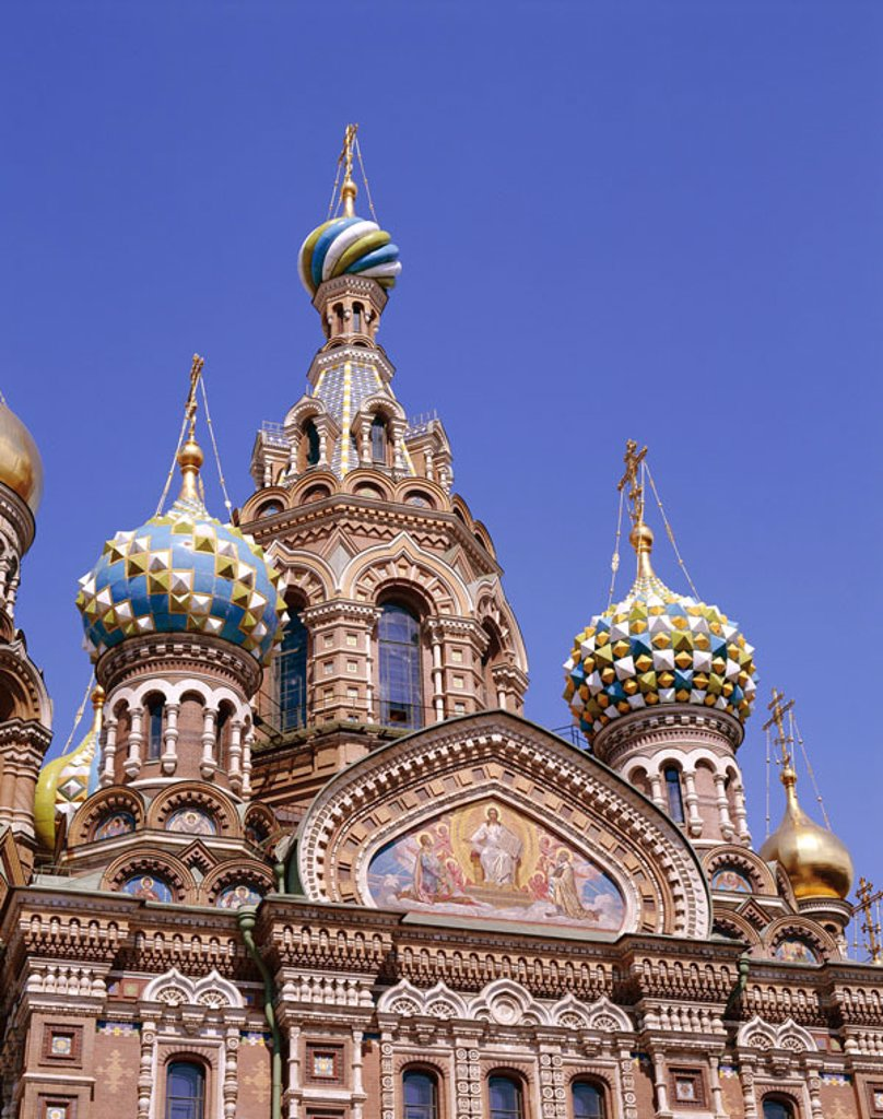 Stock Photo: 1558-79321 Russia, St. Petersburg, Christi Resurrection church, facade, detail  Sink Petersburg, Saint Peter castle, redeemer church, ´redeemer church on the blood´, church, chapel, construction, architecture, style, altrussisch, onion domes, mosaic, sight, tourism,