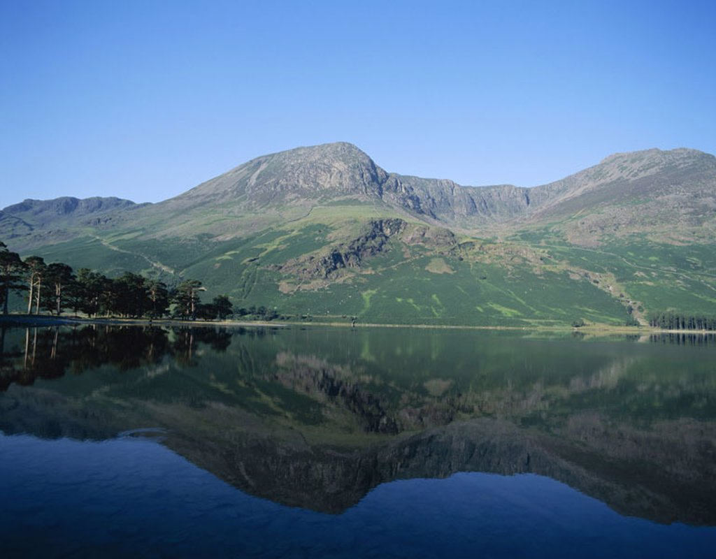 Great Britain, England, Cumbria,  Brine District, Buttermere brine,  Mountains, water reflection,  Europe, island, landscape, nature, sea, water, quietly, quiet, windless, reflection, Buttermere Water, silence, silence, idylls, loneliness, destination, re : Stock Photo
