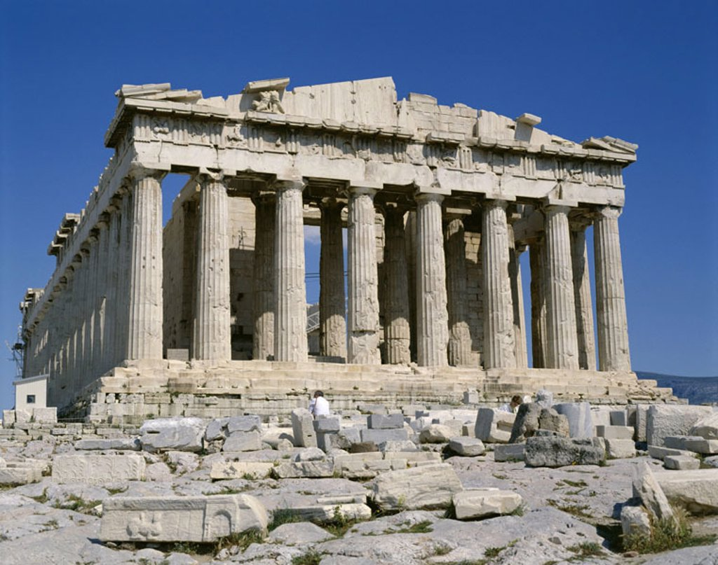 Stock Photo: 1558-80124 Greece, Athens, view at the city, Acropolis, Parthenon,  Europe, Attika, capital, sight, landmarks, temple mountain, temples, construction, Peripteros, 447 - 438 v. Chr., Columns, column contact, architecture, national monument, culture, UNESCO-World Heri