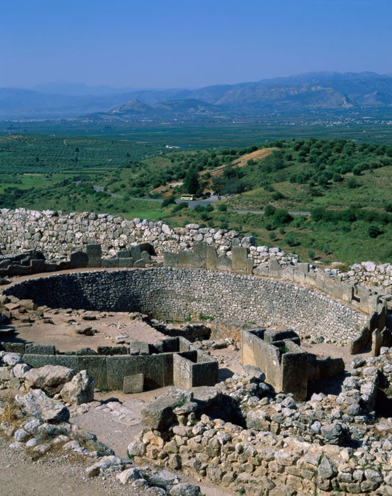 Greece, Peloponnes, Mykene,  Digger circle  Europe, sight, culture, ruin, remains, castle, Argolis, excavations, diggers, approximately, Gräberrund funeral installation king diggers, UNESCO-World Heritage Site, outlook, landscape, : Stock Photo
