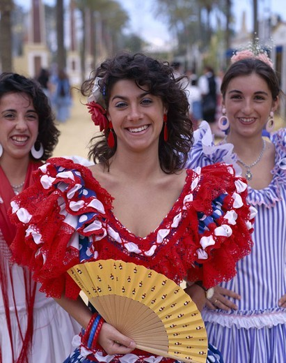 Spain, Andalusia, Jerez of de la Frontera, Fiera Del Caballo, women, clothes,  traditionally, portrait, group picture Europe, Iberian peninsula, destination, sight, tradition, party of the horses, event, parade, move, young, folklore clothing, clothing, o : Stock Photo