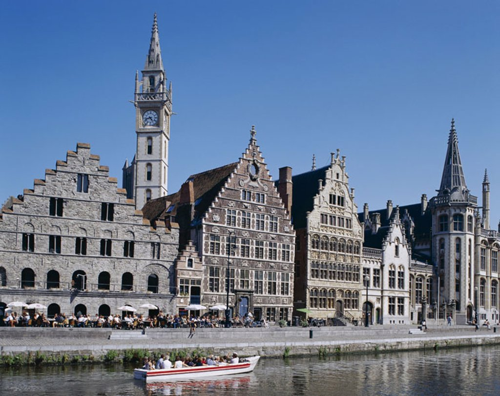 Belgium, Gent, old town, Graslei,  Gable houses, opinion,  Benelux, Flanders, houses, gable houses, tower, Uhrturm, constructions, sights, promenade, street cafe, canal, trip boat,  Destination, tourism, boat trip, boat tour, concept, Architecture, cultur : Stock Photo