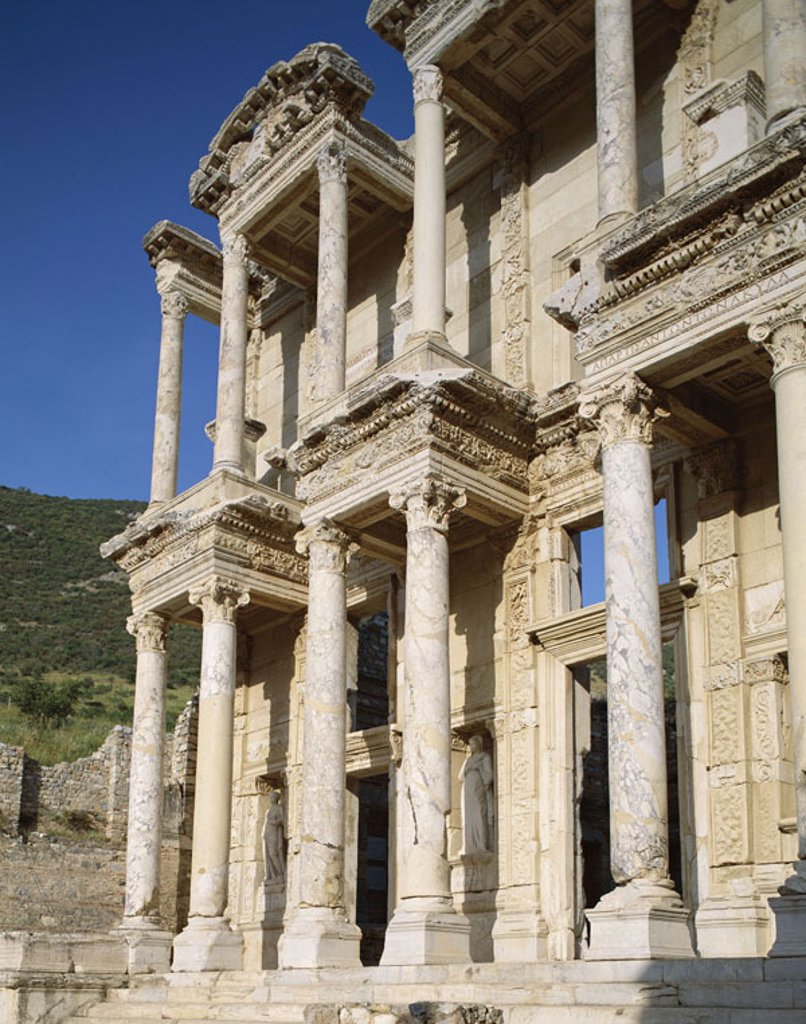 Turkey, Ephesos, Celsius library, detail,   Anatolia, Asia Minor, Selcuk, sight, culture, ruin place, ruin, remains, Celcius library, antique, historically, history, architecture, architecture, facade, splendor facade, Roman, two-story, built 135 n. Ch., : Stock Photo