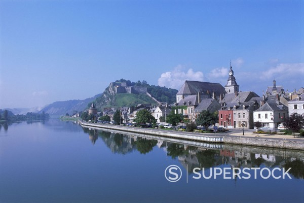 France, Ardennen, Givet,  view at the city, river Maas,  Europe, Département Ardennes, Champagne, city, houses, buildings, church, riversides, reflection, water surface, heaven, blue, : Stock Photo