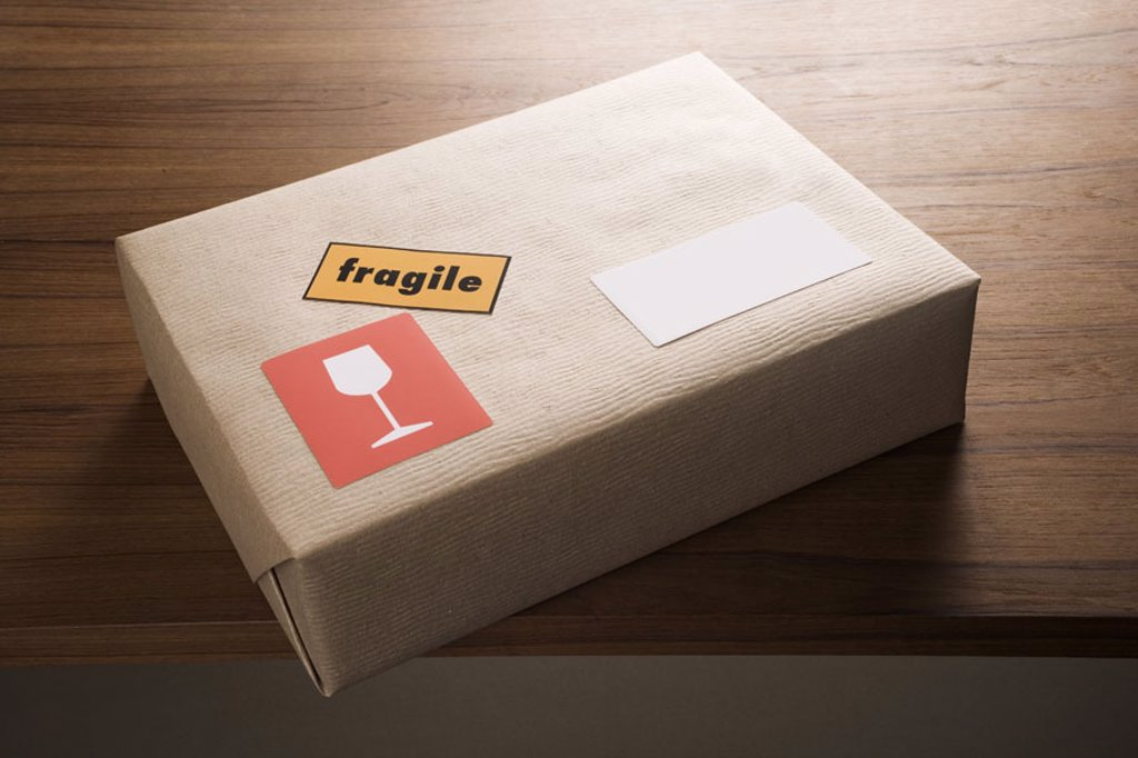 Package, address stickers, empty,  Labeling, ´fragile´,  fragile  Series, mail, packet, carton, parcel, package, shipping, ware, program, packs, unaddressed, packing paper, sends, sends, stickers, label, Label, glass, hint, respect, caution, mail route, c : Stock Photo