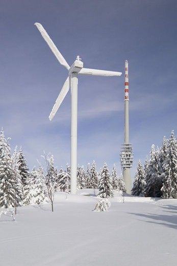Germany, Baden-Württemberg,  Black forest, Hornisgrinde,  Wind strength installation, Sendeturm, Europe, North Black forest, sight, mountain, forest, winter landscape, season, winters, snow, snow-covered, tower, transmitter, wind energy, wind strength, wi : Stock Photo