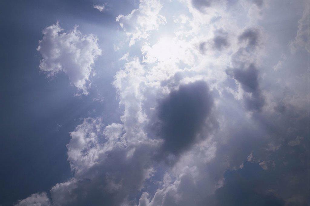 heaven, clouds, hole, sunbeams,    Nature, nature drama, clouded sky, draws opens, concept, cloud breakthrough, supernaturally, magically, mystic, unreal, inspiration, light gaze, space, dimension, volatility, illusion, dream, dream world, vision, spiritu : Stock Photo