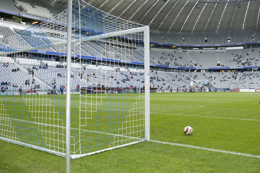 Germany, Upper Bavaria, Munich,  Fröttmaning, football stadium alliance arena,  Game field, gate, ball, no property release,  Series, Bavaria, München-Fröttmaning, stadium, sport stadium, alliance arena, sport arena, football arena, built 2002-05, archite : Stock Photo
