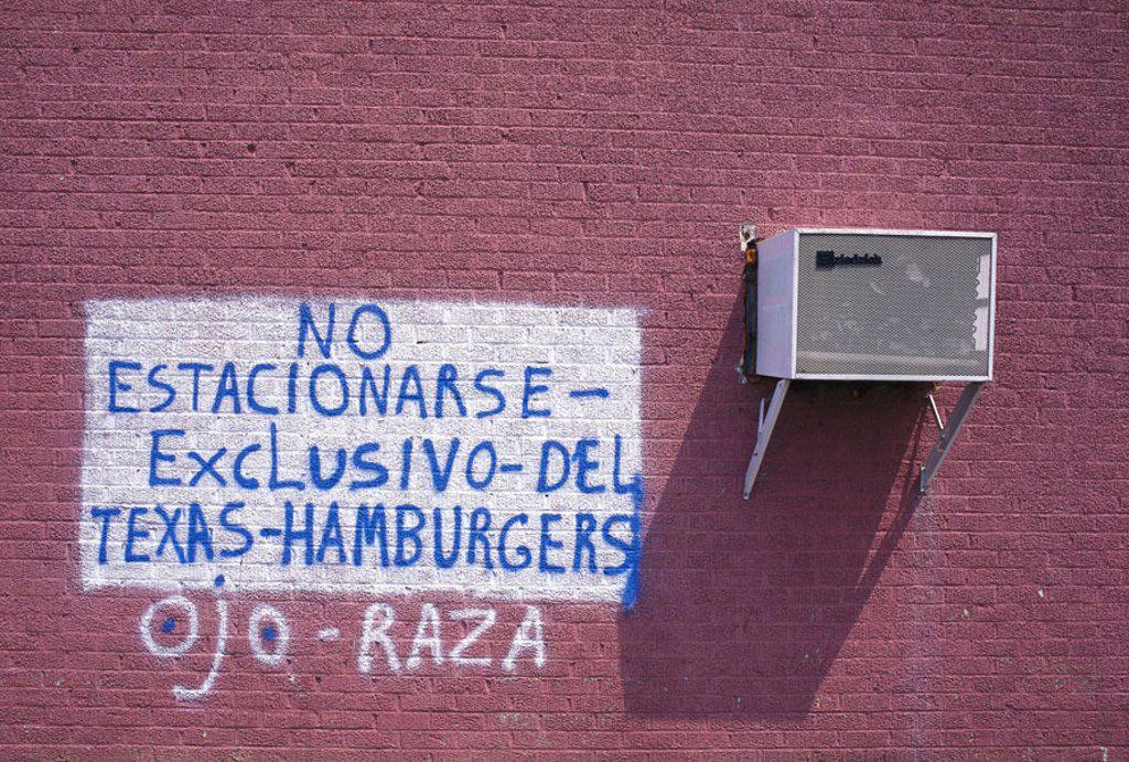 Buildings, facade, stroke,  Air-conditioning,   House facade, wall, brick wall, red, information, sprays hint, snack restaurant inhabitants of Hamburg, : Stock Photo