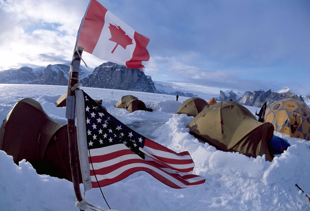 Canada, Baffin Iceland, The Fin,  Basis camps, national flags,,  Canadian, American,  Arctic, Baffinland, winters, ice, snow, landscape, nature, mountains, rocks, tents, camps, Besecamp, station, stay, expedition, heaven clouds, : Stock Photo