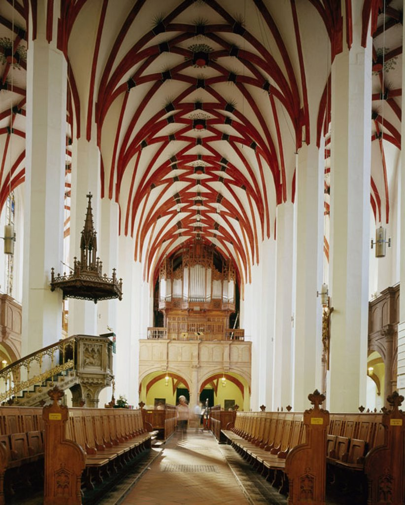 Germany, Saxony, Leipzig,  Thomas church, interior opinion,   Church, formerly cathedral of the Augustinian choir men, Foyer church, three-ship-y, benches, gaze, gallery, renaissance galleries, 1570, Hieronymus Lotter,  Organ, architecture, sight, concept : Stock Photo