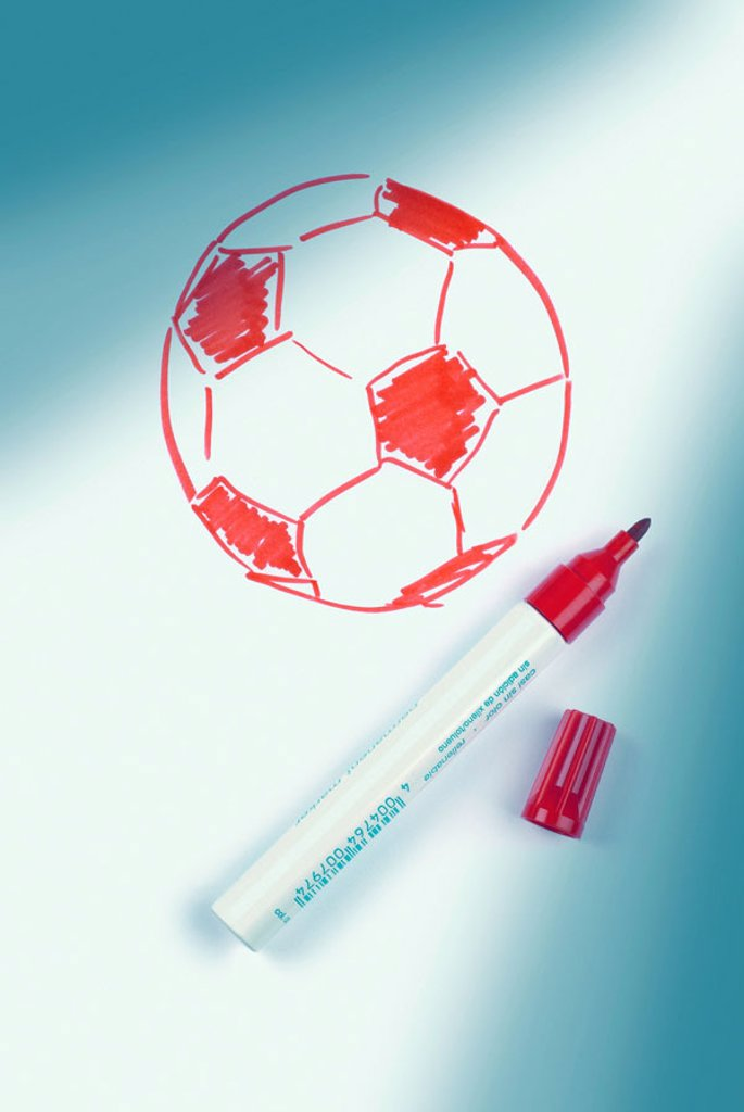 Illustration, football, red-white,  Rotstift  Series, drawing, sketch, outlines, graphics, ball, pen, drawn felt-tip pen, Edding Eddingstift symbol soccer games sport, ball sport, game, ball game, soccer game, Fußball-WM, 2006, world championship, concept : Stock Photo