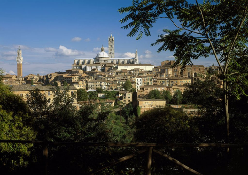 Italy, Tuscany, Siena, view at the city,  old town, Duomo Santa Maria,  Series, cityscape, houses, residences, church, cathedral, construction, architecture, sight, UNESCO-World Heritage Site, destination, tourism, : Stock Photo