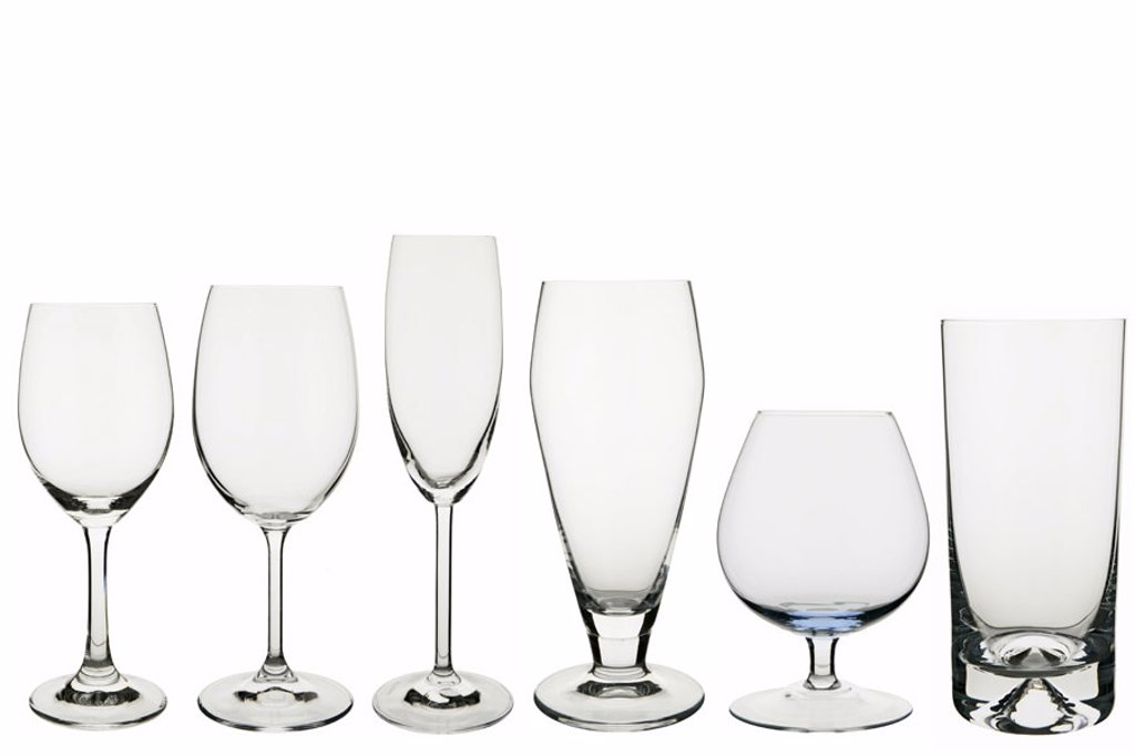 Stock Photo: 1558-87546 Tumblers, different, empty,  side by side,   Series, glasses, beverage glasses, wine glasses, champagne glass, beer glass, Cognacglas, Cognacschwenker, tumbler,  new, unused, drunk up, glass, transparently, lucidly, household merchandise, unbunt, quietly