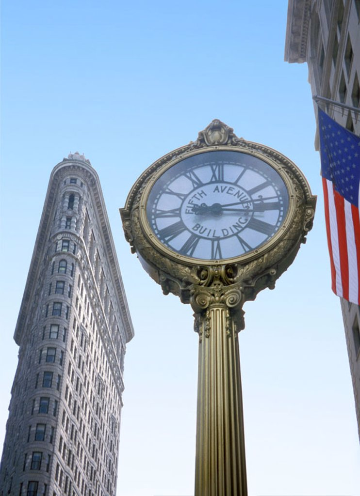 Stock Photo: 1558-87753 USA, New York city, Manhattan, Flatiron Building, column, clock, detail,   North America, metropolis, city, 5th Aves, high-rise, skyscrapers, built landmarks 1902, Architect Daniel Hudson Burnham, architecture, sight,