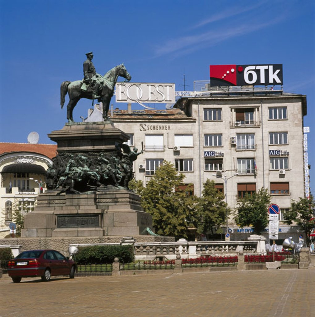 Stock Photo: 1558-88574 Bulgaria, Sofia, place Narodno Sabranie,  Monument, Czar Alexander II.,   Europe, southeast Europe, Balkans, capital, downtown, place of the national meeting, Naredna Sabrattina, statue, rider statue, monument of the rescuers, sight,