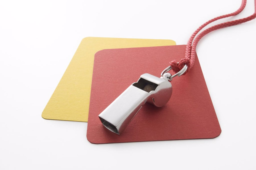 Stock Photo: 1558-89200 Whistle, admonition cards,    Sport, football, accessories, referee accessories, pipe, cards, yellow, red, symbol, referees, whistle, whistles blows the whistle, starts, attention, volume, whistle, blew the whistle, rules, oversees penalty, rules decision